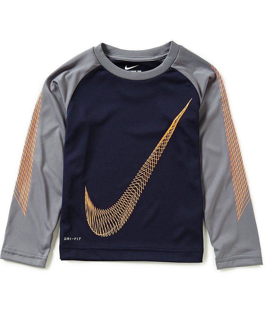 Nike Little Boys 4-7 Dri-FIT Swoosh Long-Sleeve Tee