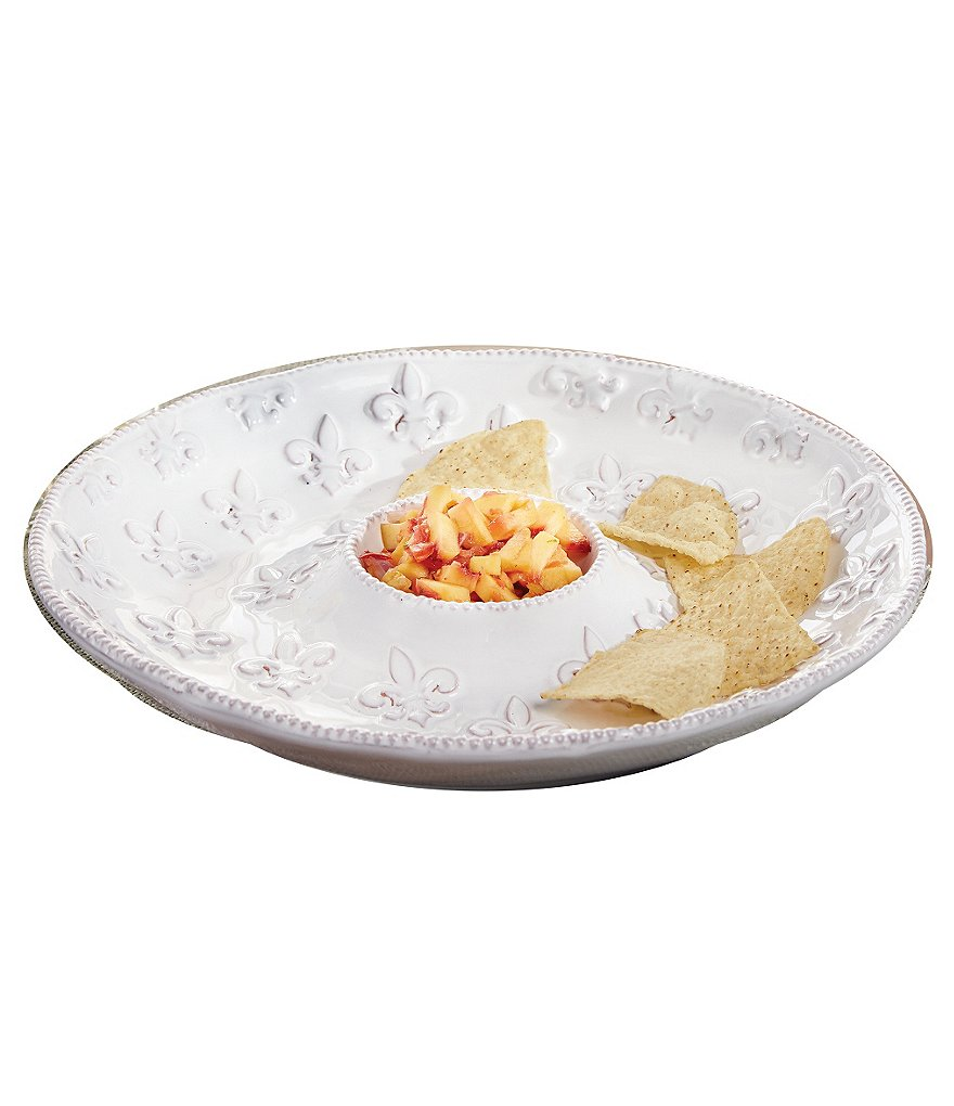 Mud Pie France Collection Fleur de Lis Terracotta Chip & Dip Bowl