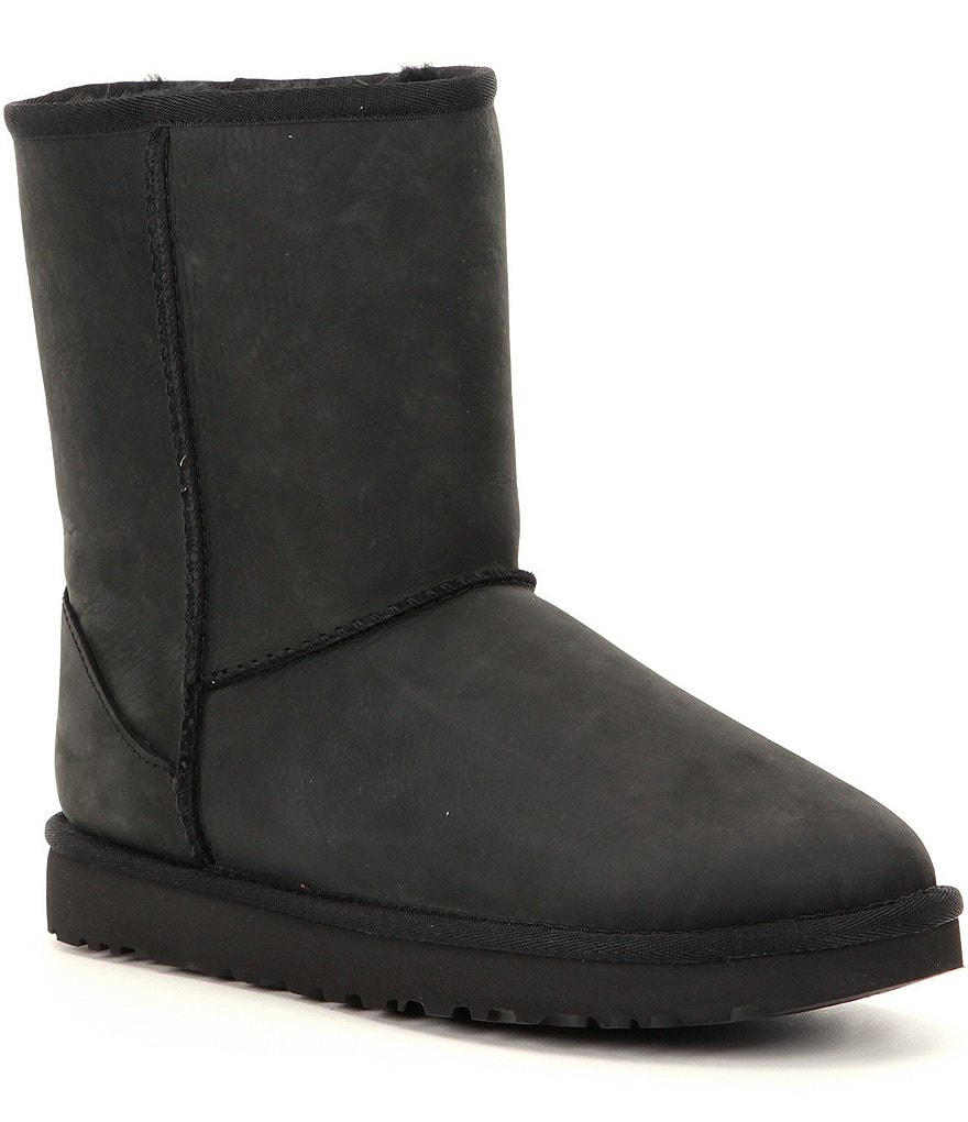 Black:UGG® Classic Short Water-Resistant Leather Boots