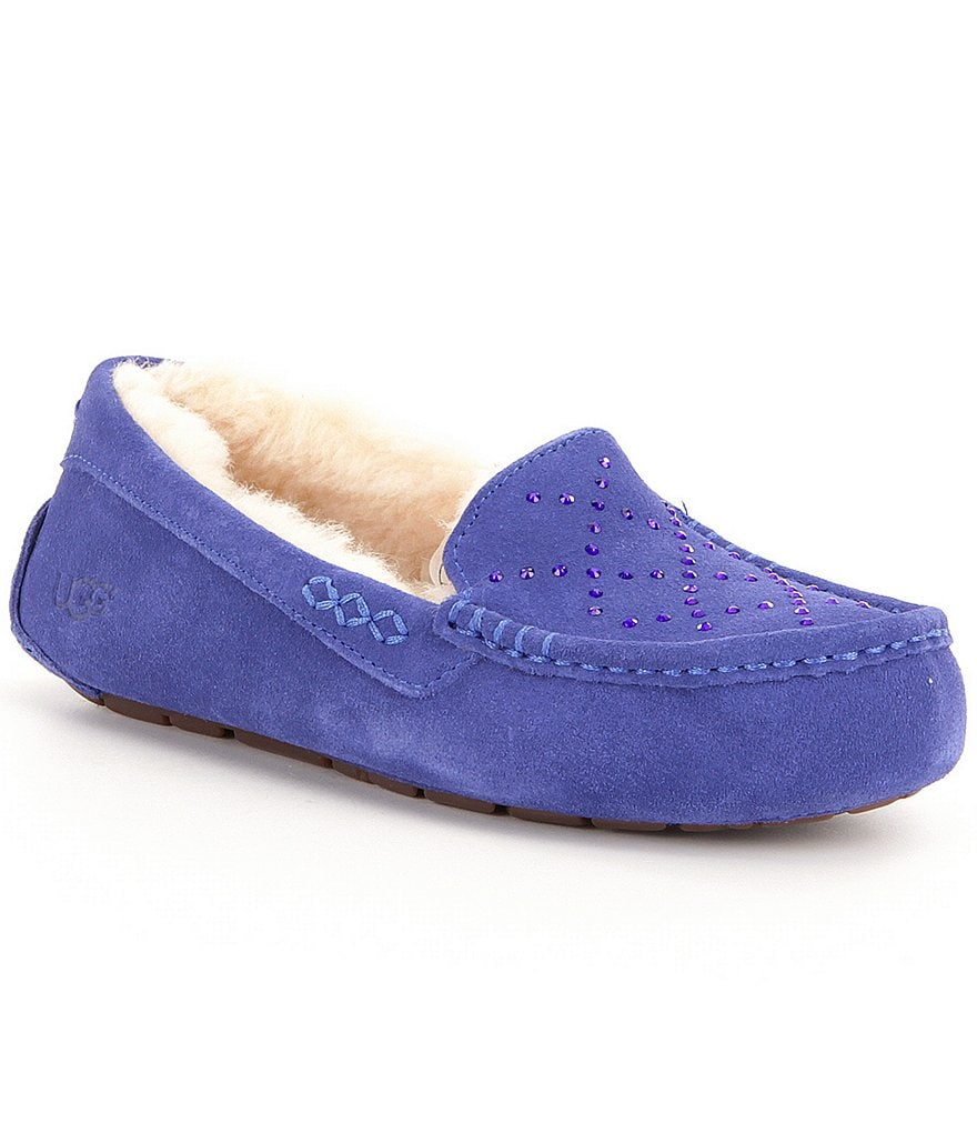 UGG® Ansley Crystal Diamond Swarovski® Crystal Detail Suede Slip-On Slippers