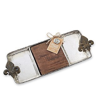 Mud Pie France Collection Fleur de Lis 2-Piece Wood & Metal Sectioned Tray