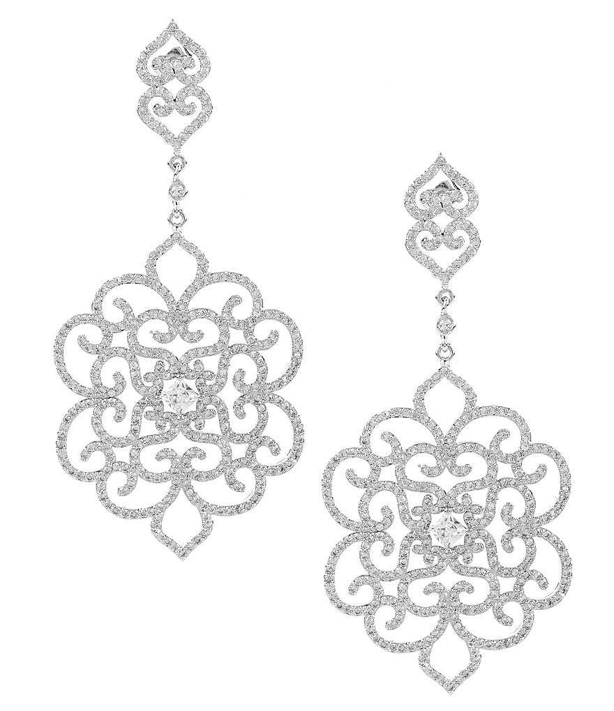 C by Cezanne Crystal Open Medallion Drop Statement Earrings