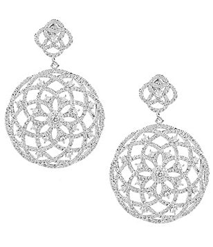C by Cezanne Open Flower Medallion Drop Earrings