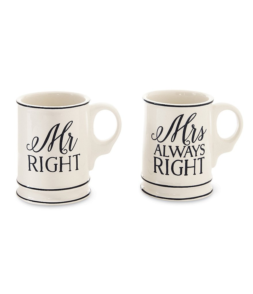 Mud Pie Mr. & Mrs. Right Wedding Mug Set