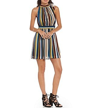 Soulmates Vertical Stripe Tie-Neck A-Line Dress