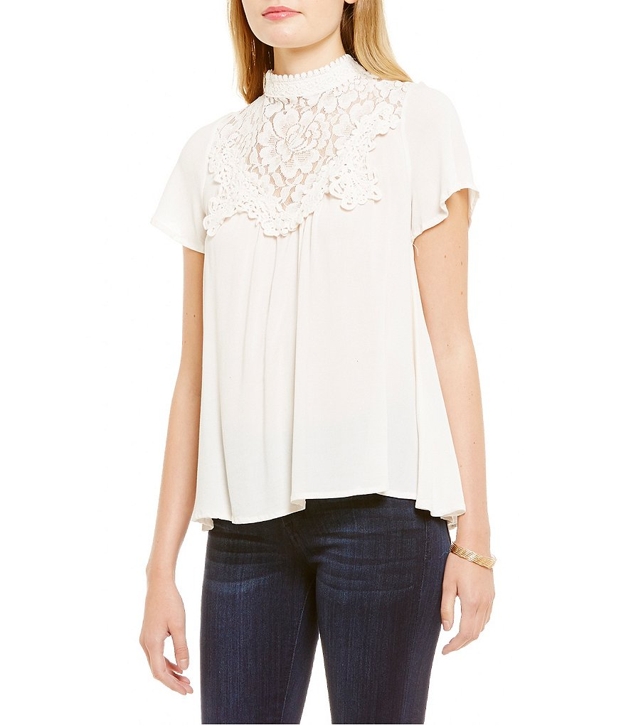 Coco + Jaimeson Flutter-Sleeve High-Neck Top