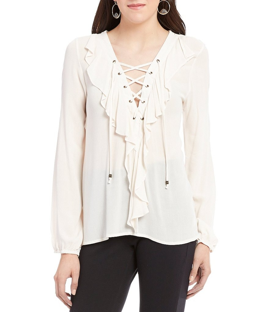 Coco + Jaimeson Lace-Up Neckline Ruffle Blouse
