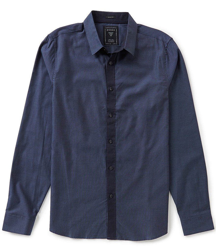 Guess Micro-Diamond Long-Sleeve Dobby Shirt