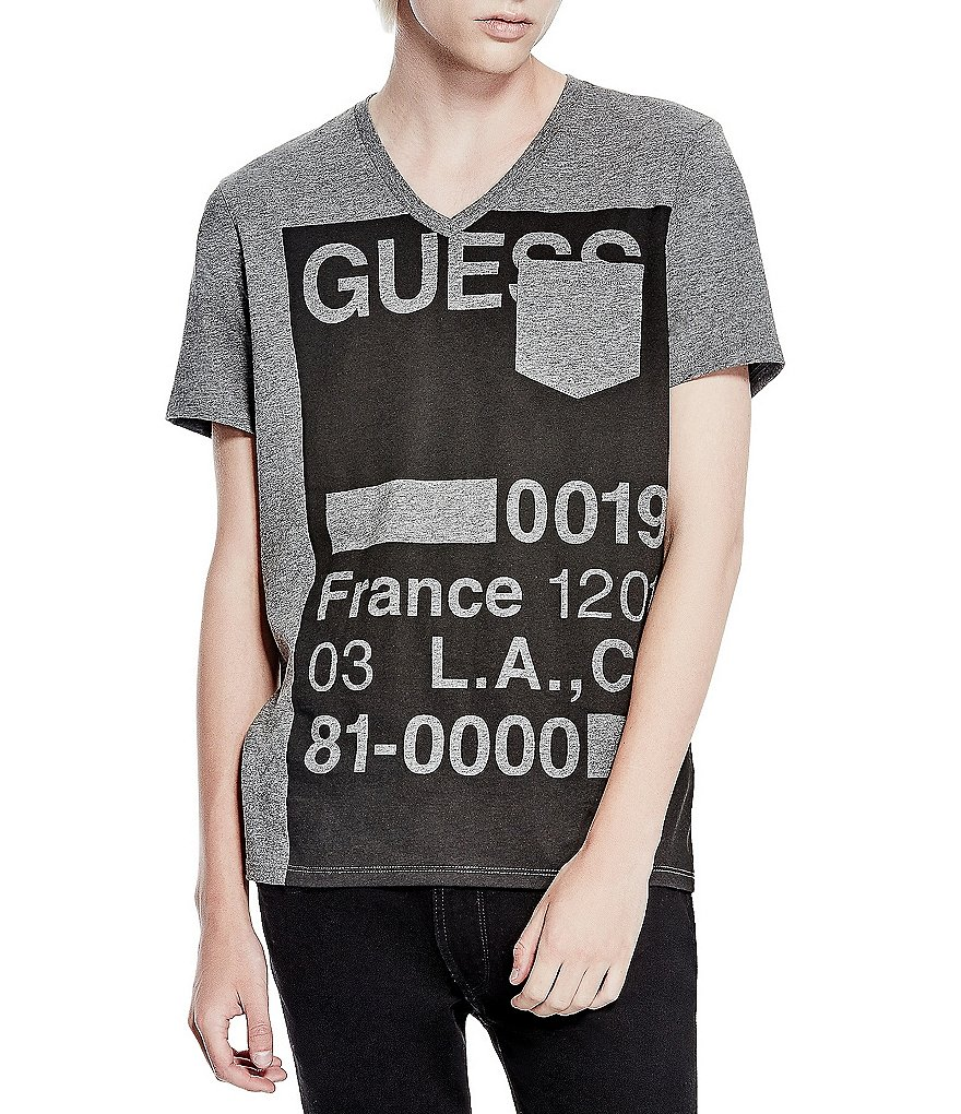 Guess Stencil-Print Short-Sleeve V-Neck Pocket Graphic Tee