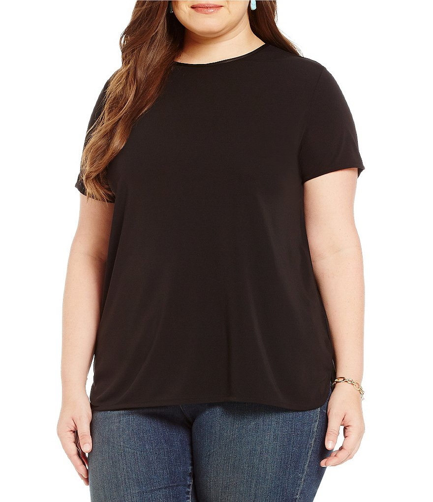 Lauren Ralph Lauren Plus Faux Leather Trim Jersey Tee