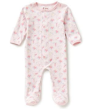 E=MC2 Baby Girls Newborn-9 Months Diamond´s Are A Girl´s Best Friend Printed Magnetic-Closure Footed Coverall