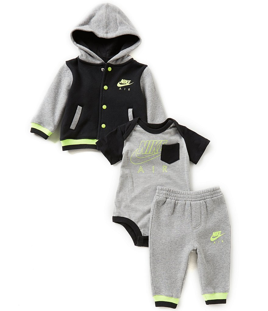 Nike Baby Boys Newborn-12 Months Color Block Fleece Hoodie Bomber Jacket & Pants & Nike Air Short-Sl