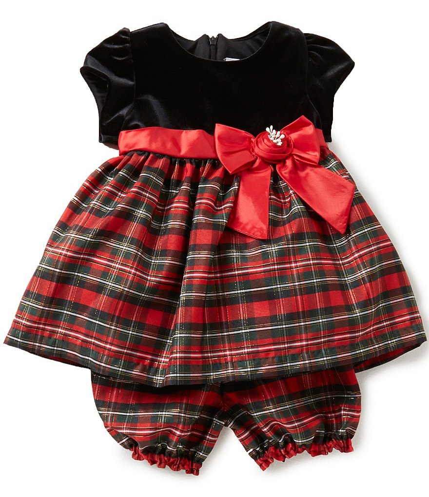 Jayne Copeland Baby Girls 12-24 Months Velvet-Bodice Plaid Dress