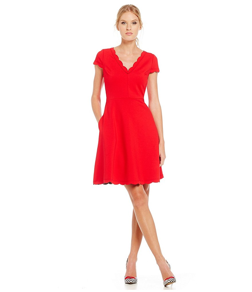 Betsey Johnson Scalloped Edge Fit and Flare Dress