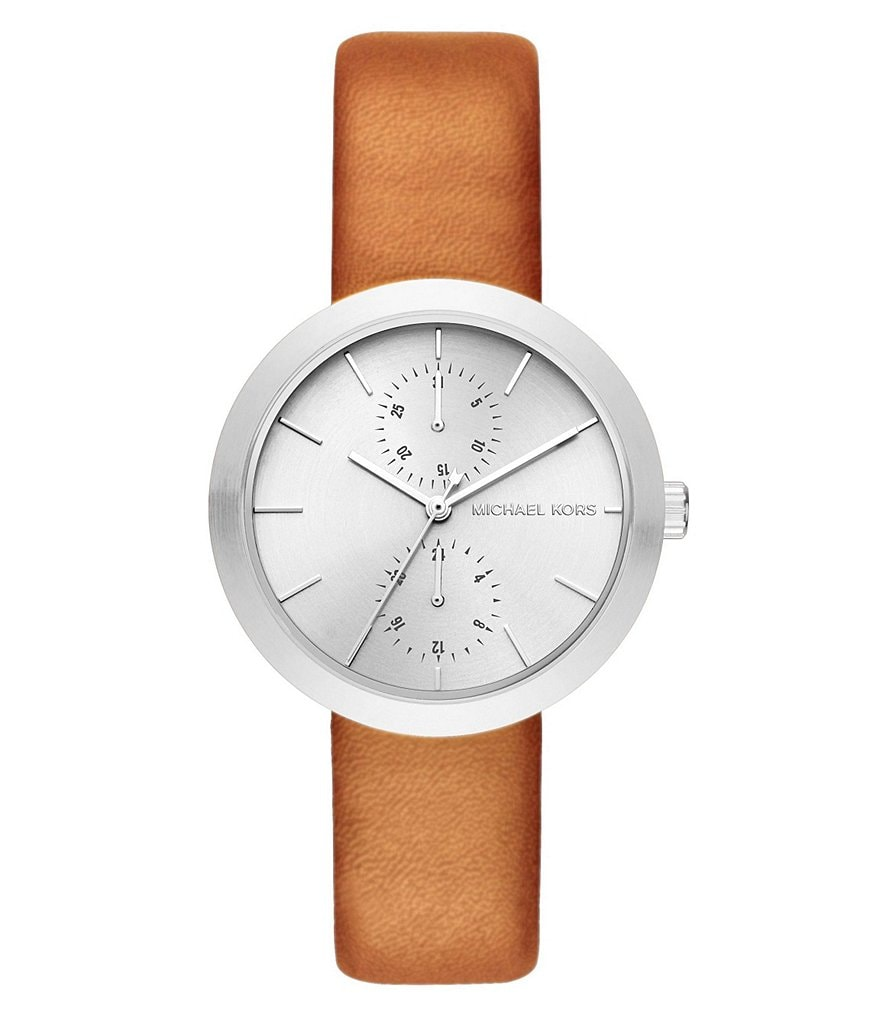 Michael Kors Garner Leather Strap Multifunction Watch