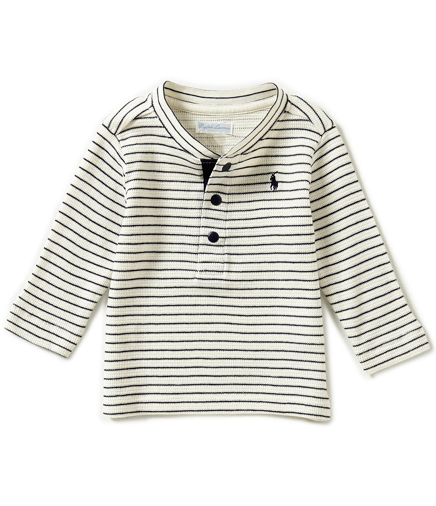 Ralph Lauren Childrenswear Baby Boys 3-24 Months Horizontal-Striped Thermal Henley Tee