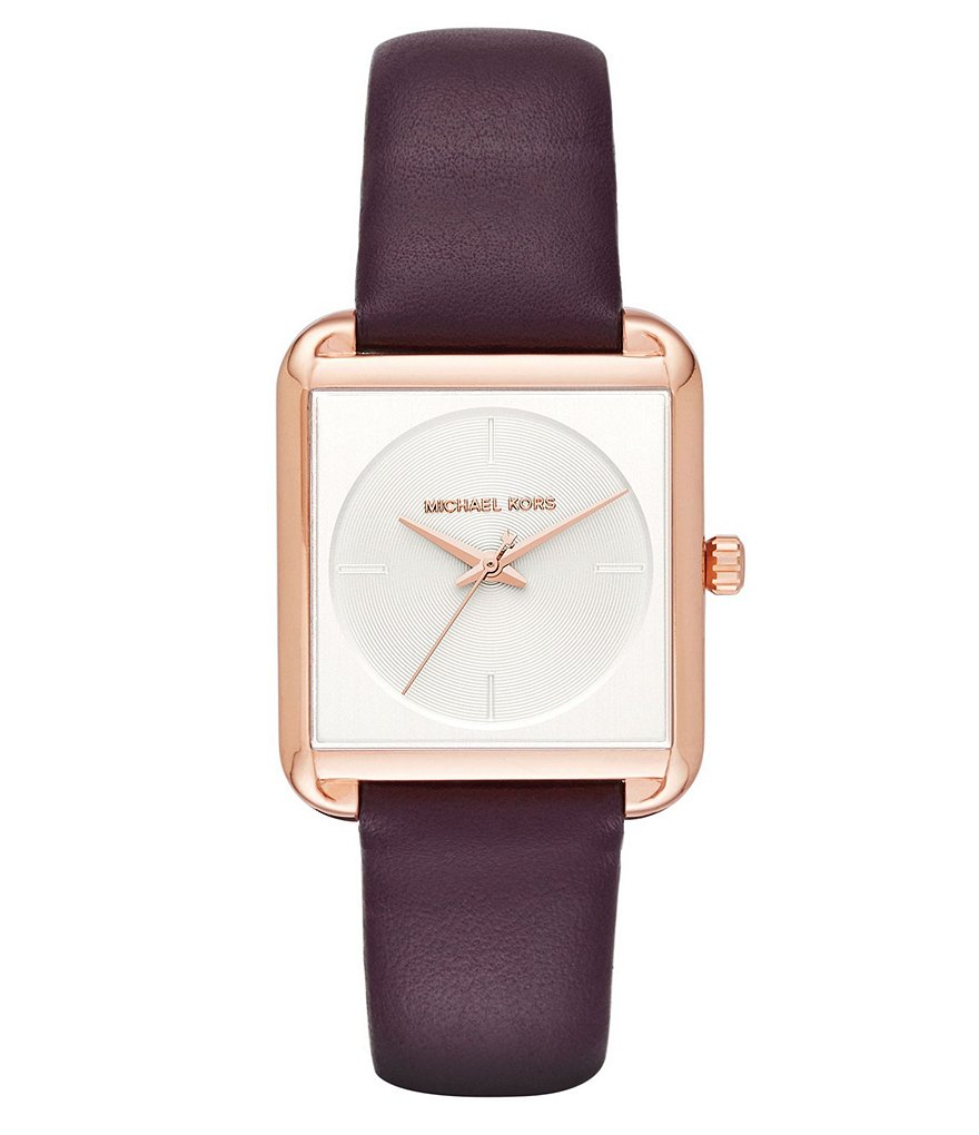 Michael Kors Lake Square Analog Leather-Strap Watch