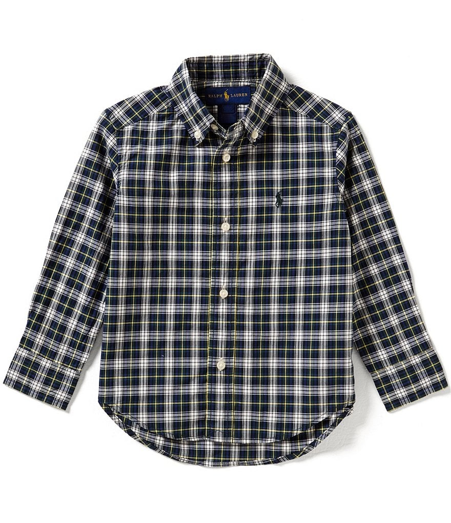 Ralph Lauren Childrenswear Little Boys 2T-4T Plaid Long-Sleeve Poplin Shirt