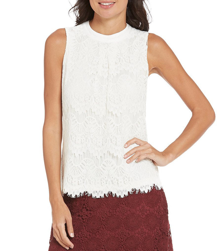 Soulmates Sleeveless Eyelash-Lace Tank Top