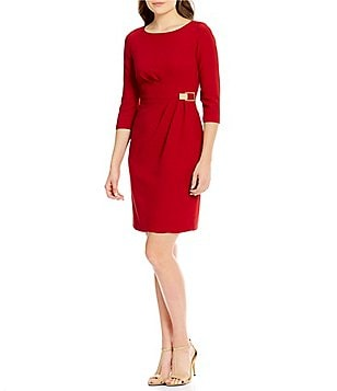 Tahari ASL Petite Ruched Stretch Crepe Sheath Dress