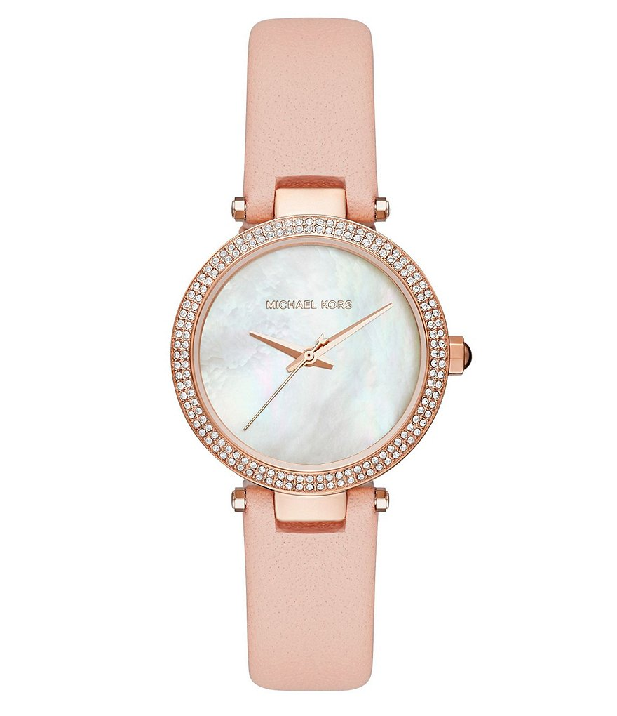 Michael Kors Mini Parker Pavé & Mother-of-Pearl Leather-Strap Analog Watch
