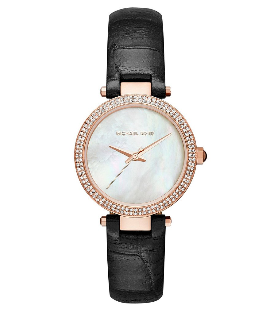 Michael Kors Mini Parker Pavé & Mother-of-Pearl Analog Crocodile-Embossed Leather-Strap Watch