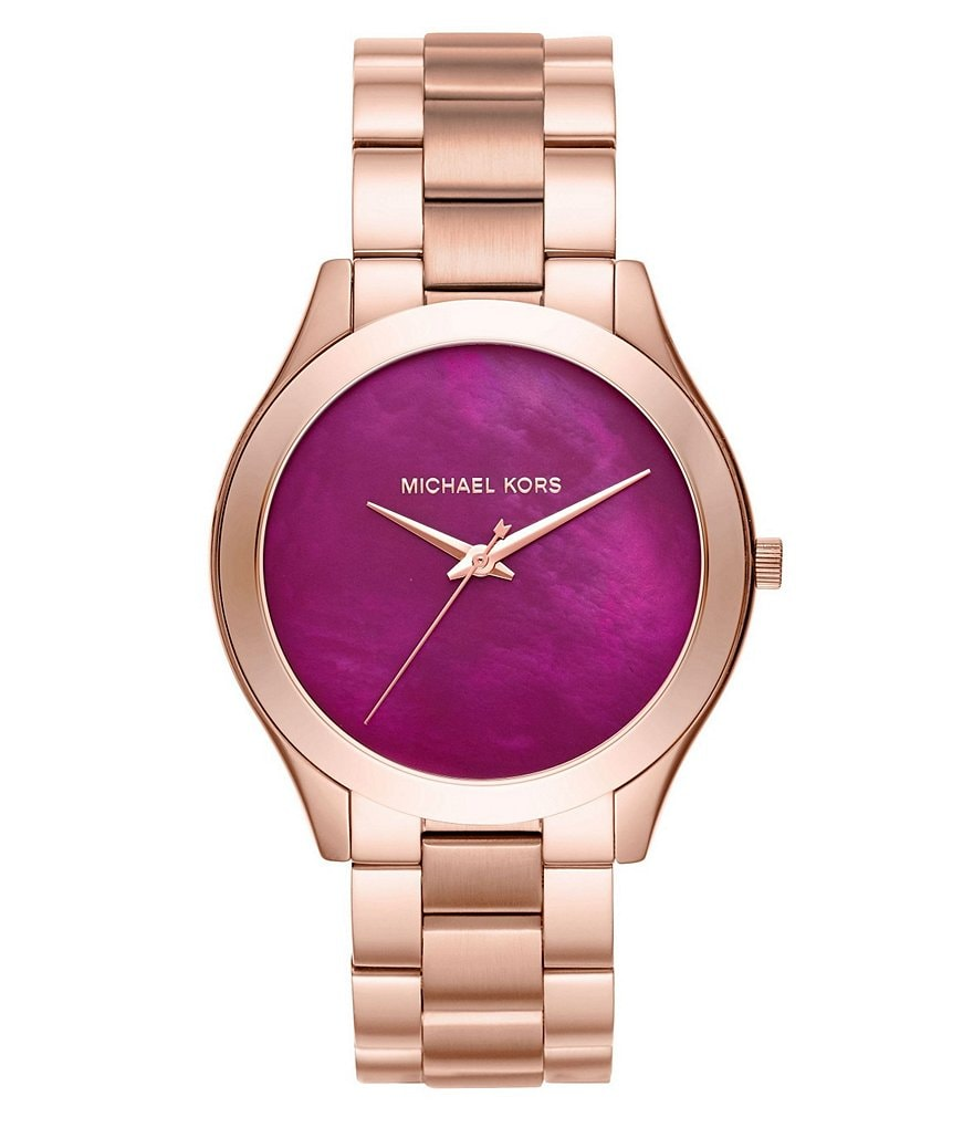 Michael Kors Slim Runway Mother-of-Pearl Analog Bracelet Watch