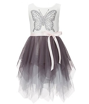 Zunie Little Girls 4-6X Studded Butterfly Bow Asymmetrical Dress