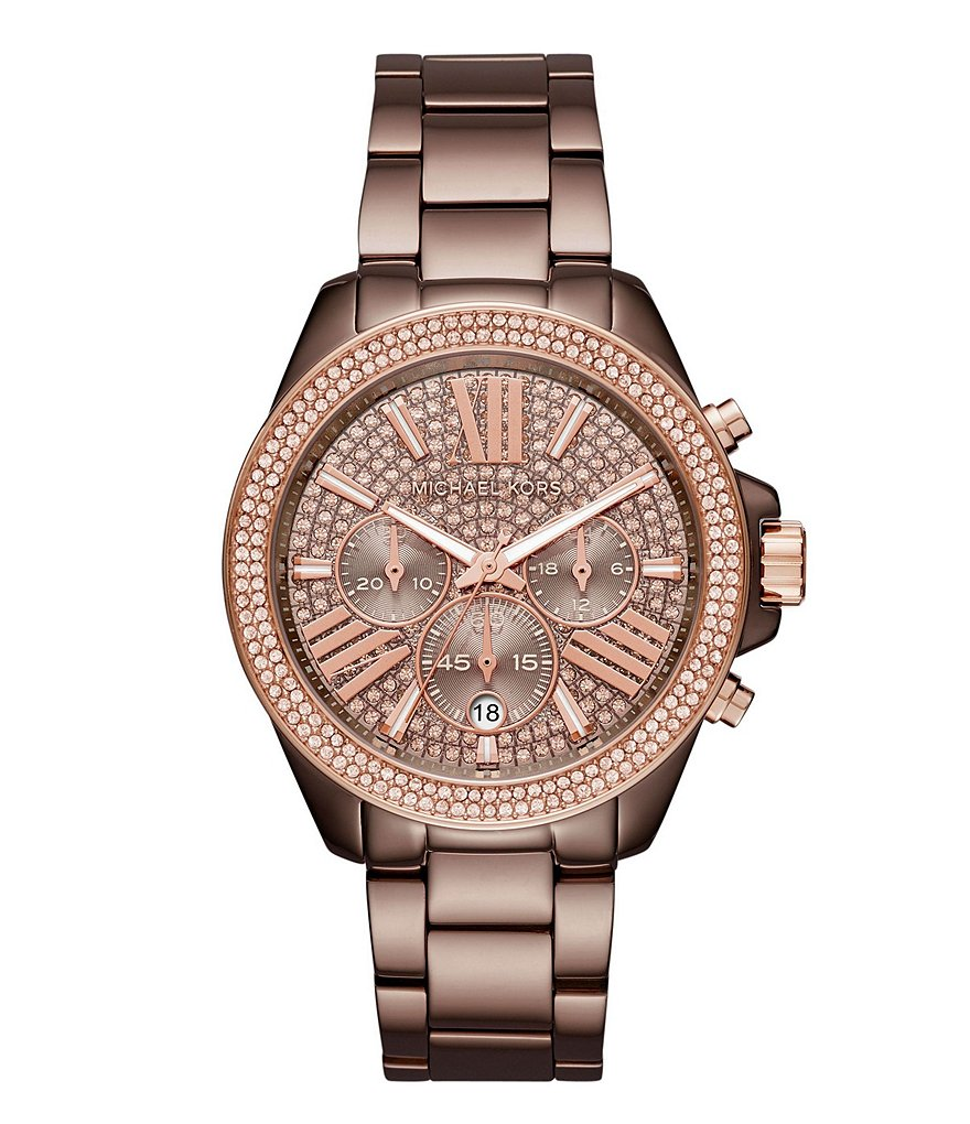 Michael Kors Wren Crystal Chronograph & Date Bracelet Watch