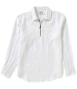 Murano Long-Sleeve Solid Linen Zip Popover Shirt