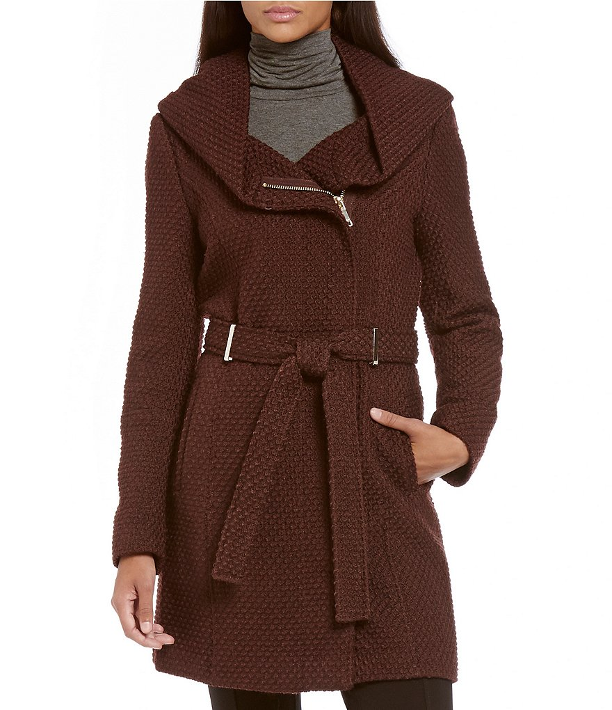 Calvin Klein Faux Wool Basket Weave Hooded Wrap Coat