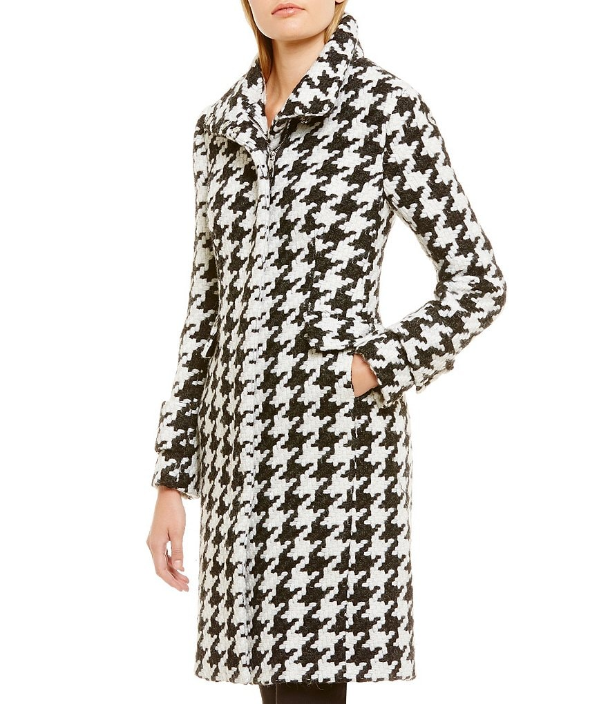 Calvin Klein Single Breasted Wool Houndstooth Walker Coat