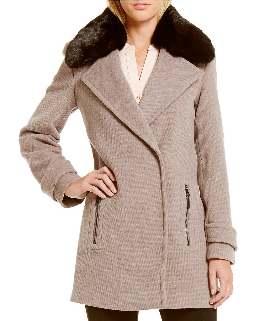 Calvin Klein Wool Basket Weave Coat with Faux-Fur Trim Collar
