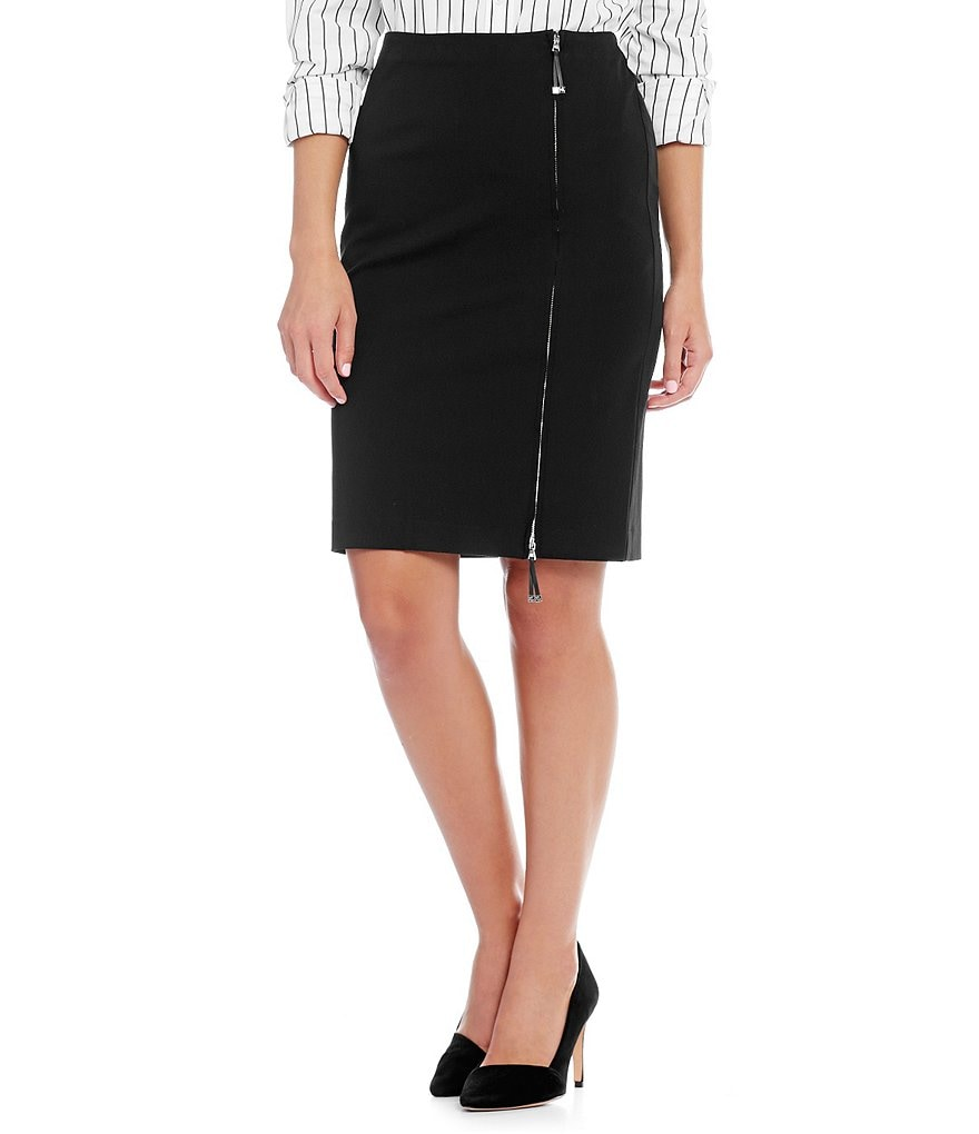 Lauren Ralph Lauren Zip-Front Stretch Cotton Skirt