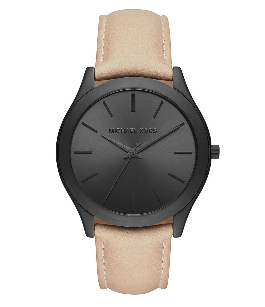 Michael Kors Slim Runway Analog Leather-Strap Watch