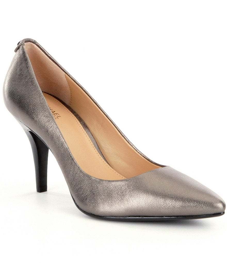 MICHAEL Michael Kors MK-Flex Metallic Leather Pointed Toe Mid Pumps