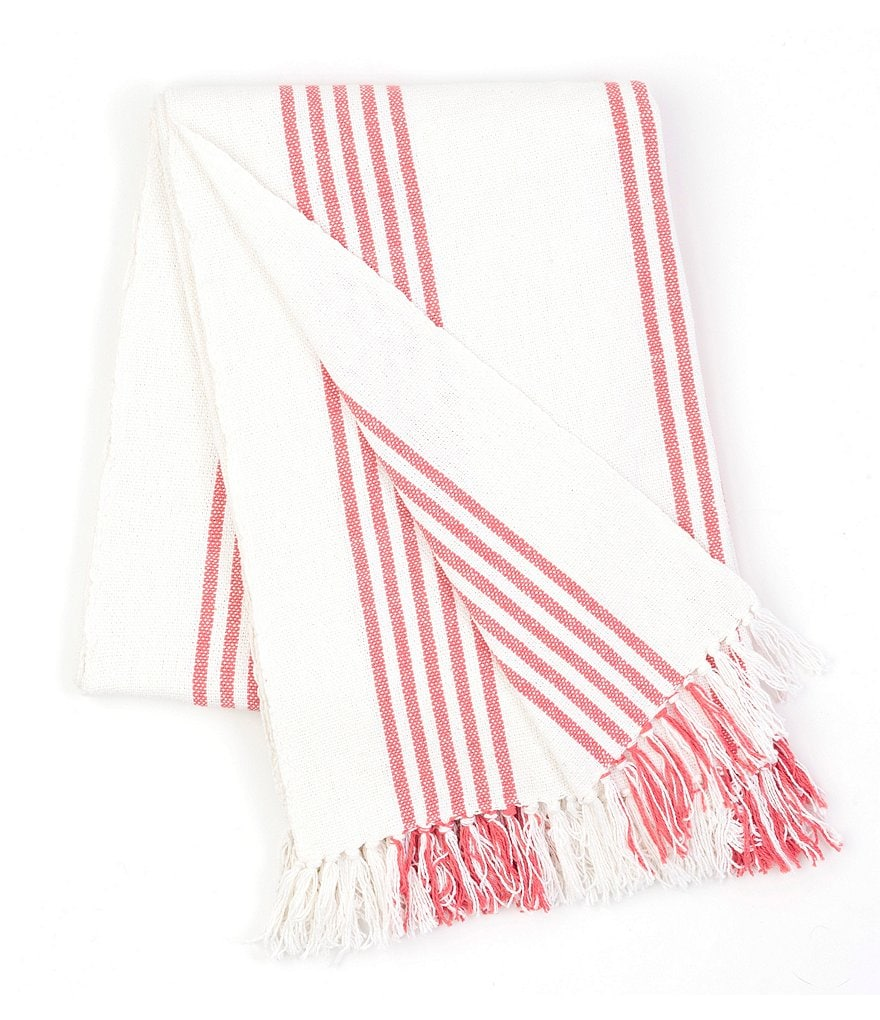 Pine Cone Hill Ibiza Fringed Striped Cotton Throw