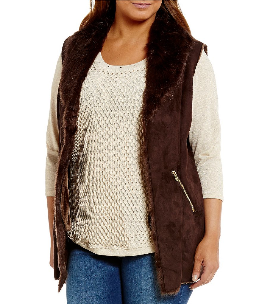 Reba Plus Zip Pocket Faux Shearling/Suede Vest