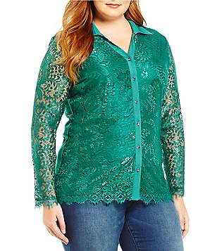 Reba Plus Lace Knit Button-Up Long Sleeve Top