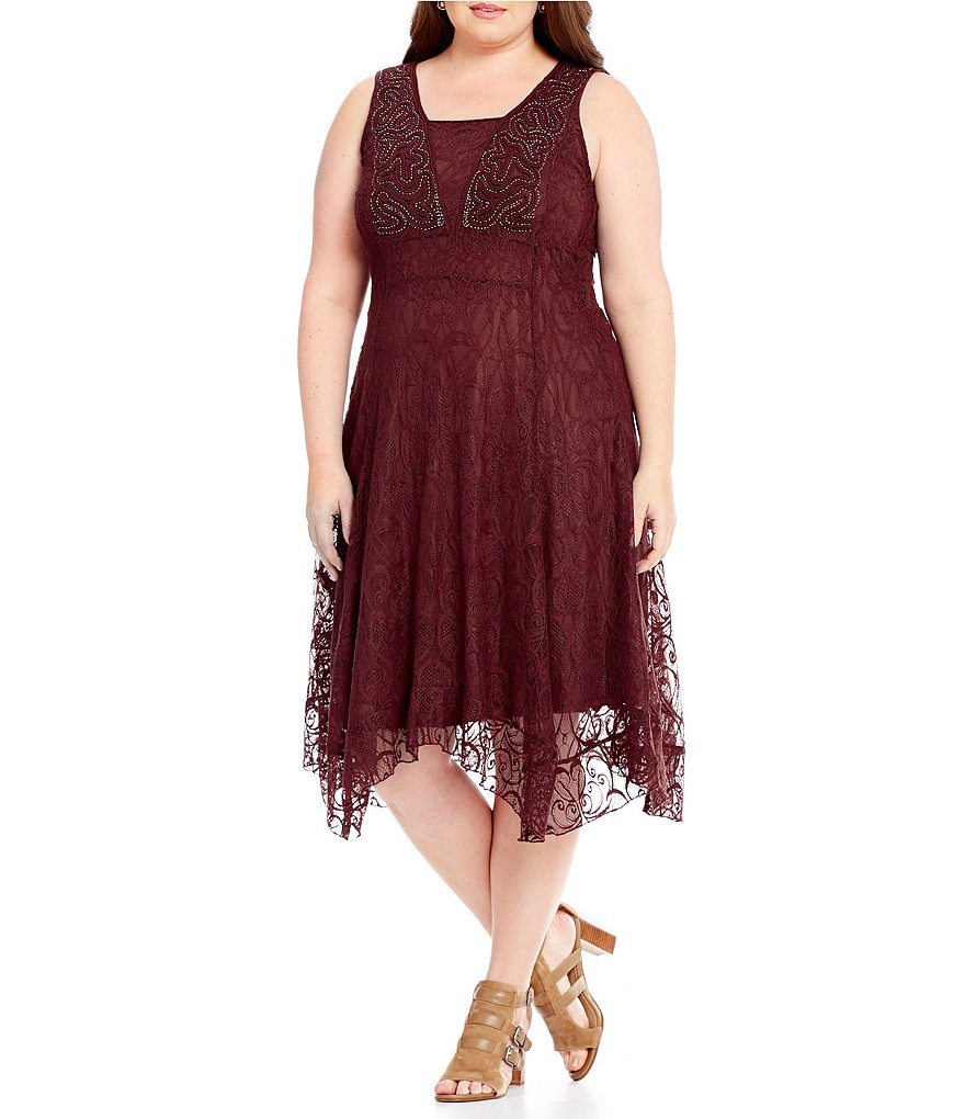 Reba Plus Asymmetrical Lace Sleeveless Dress