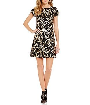 Jessica Simpson Short Sleeve Metallic Scroll-Sequin Sheath Dress