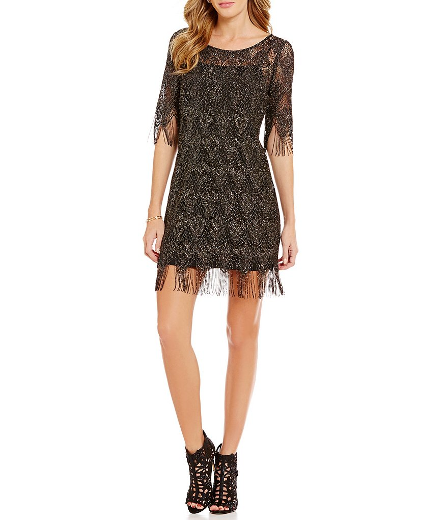 Jessica Simpson Metallic Lace Fringe Sheath Dress