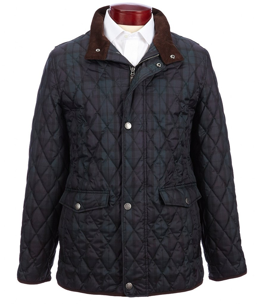 Brooks Brothers Dalton Blackwatch Plaid Quilted Walking Coat