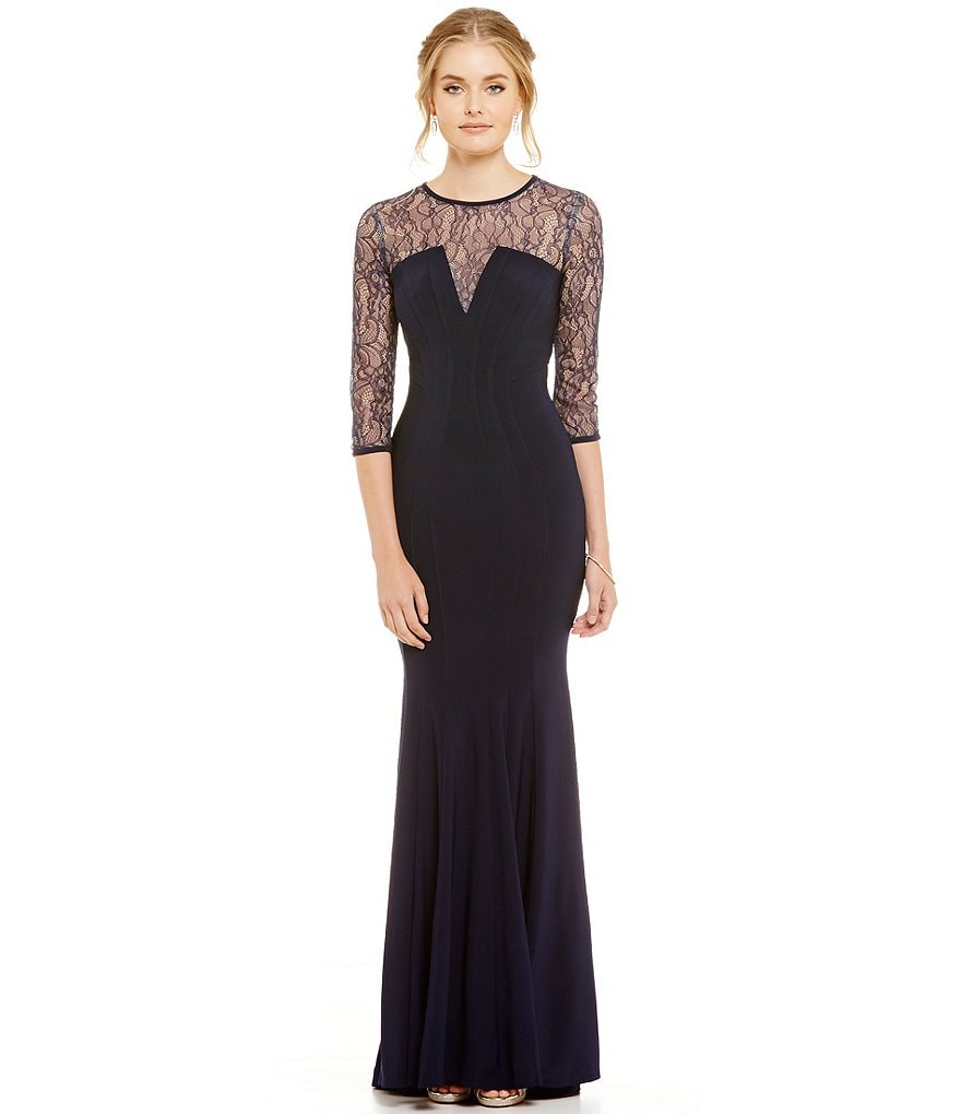 Betsy and Adam Deep V-Neck Illusion Lace ITY Knit Gown
