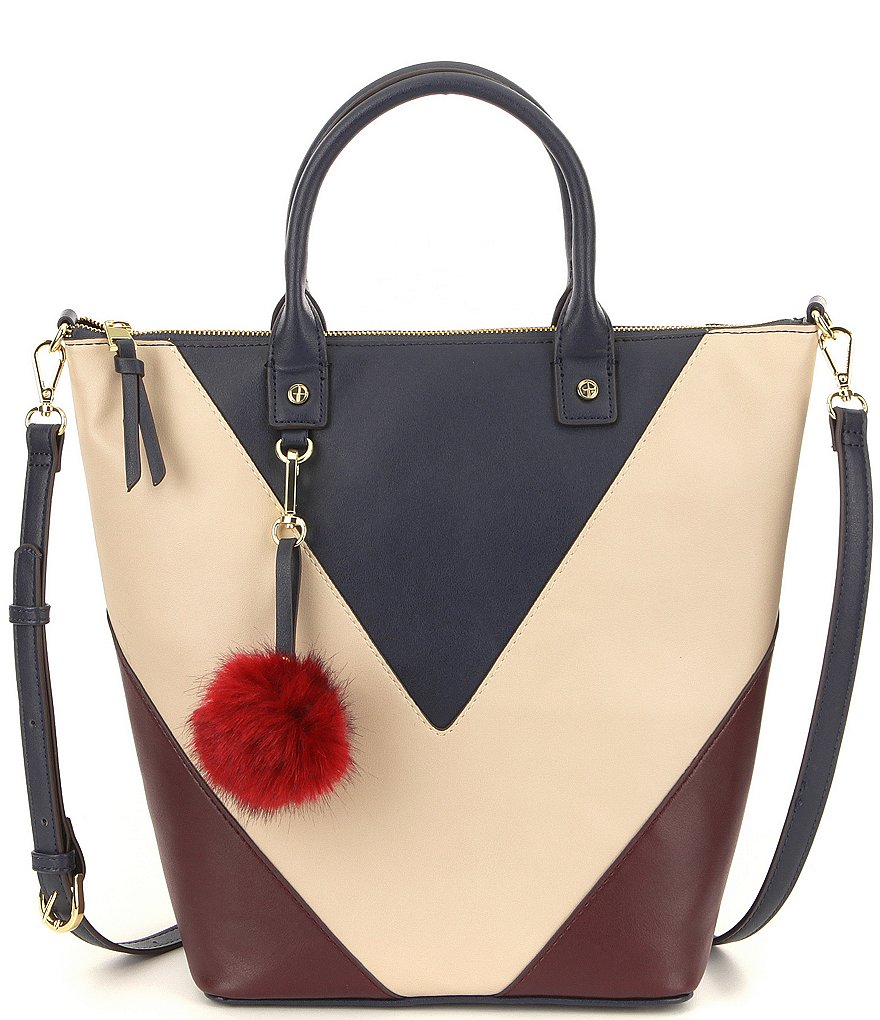 Gianni Bini V Color Block Tote with Faux-Fur Pom