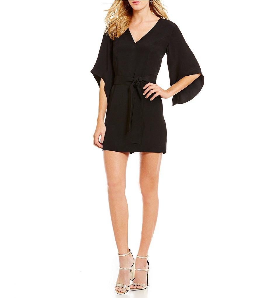 C/MEO Never Be V-Neck 3/4 Bell Sleeve Self-Tie Belt Dress