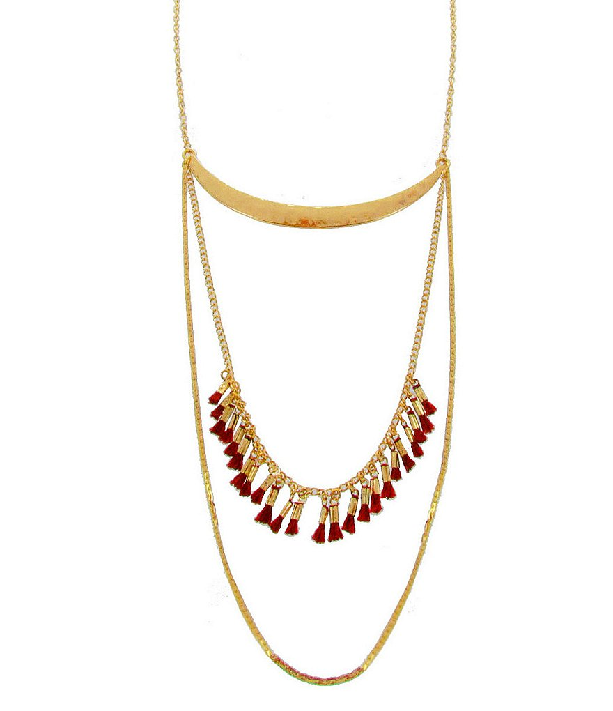 Panacea Gold Multi-Strand Fringe Necklace