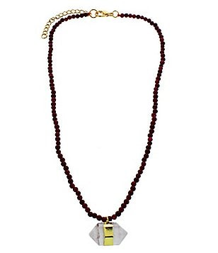 Panacea Beaded Choker Necklace with Stone Pendant Necklace