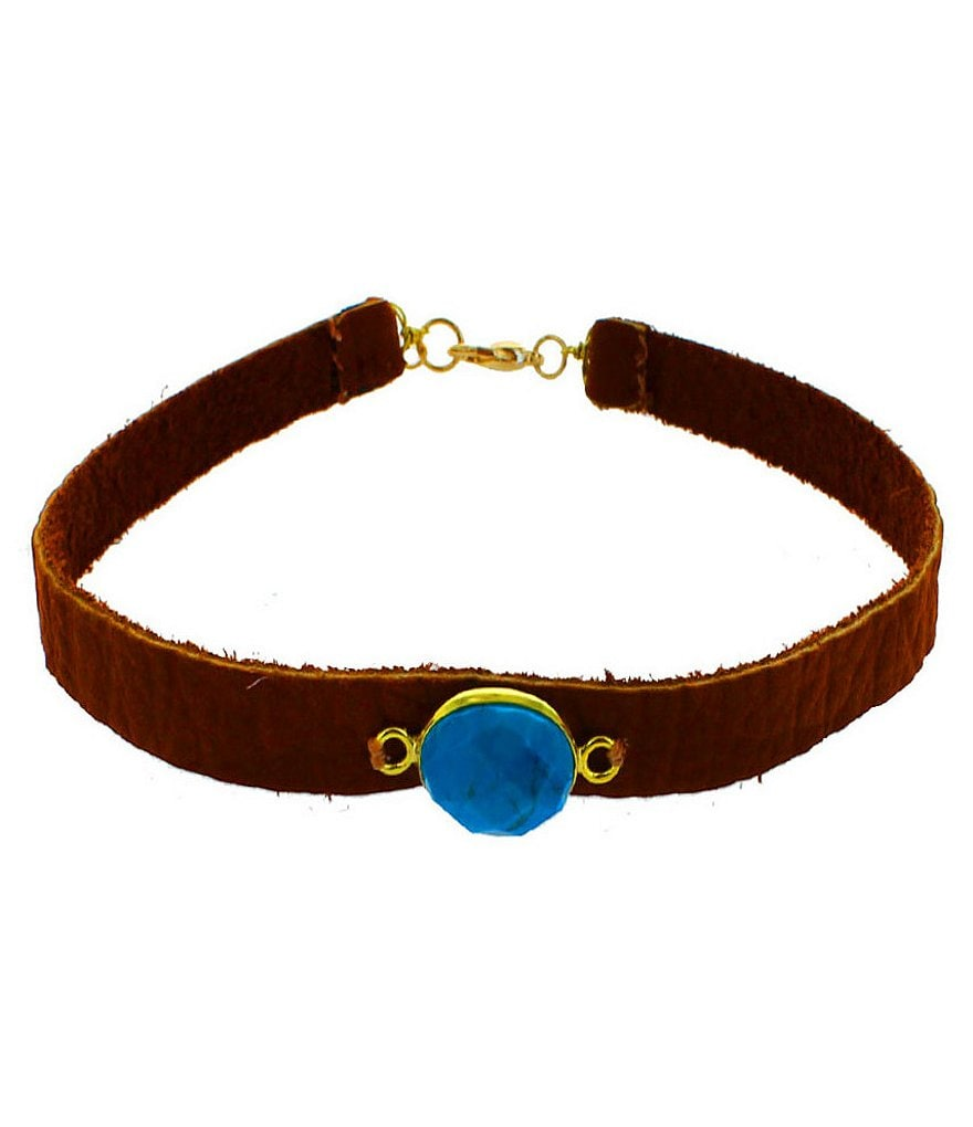 Panacea Turquoise Stone Leather Choker Necklace