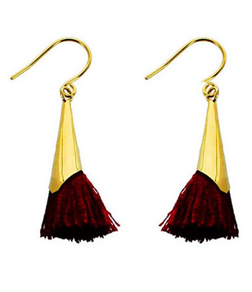 Panacea Burgundy Tassel Drop Earrings